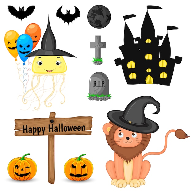 Halloween set with cute animals and traditional attributes. cartoon style. vector. Premium Vector