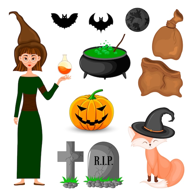 Halloween set with witch and her attributes. cartoon style. vector. Premium Vector