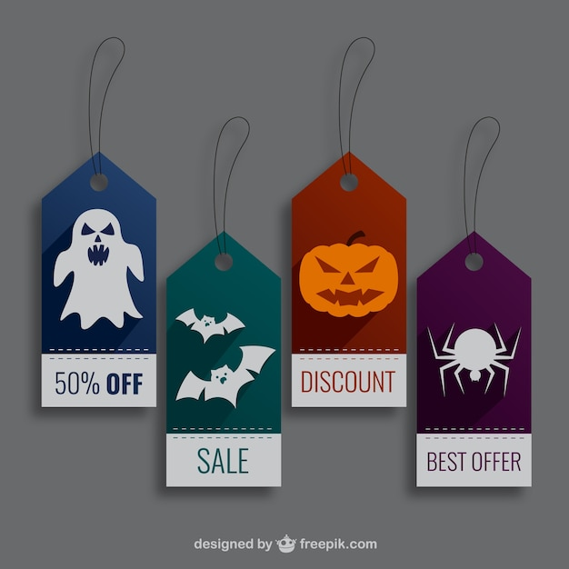 Halloween shopping labels Free Vector