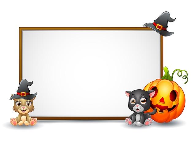 Знак хэллоуина с колдуном-ведьмой Premium векторы