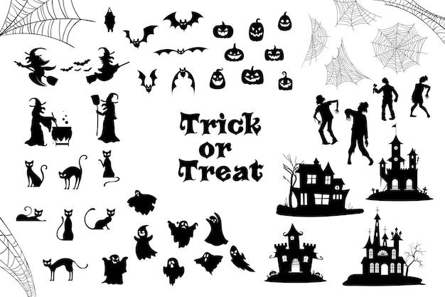 Halloween silhouette collection Premium Vector
