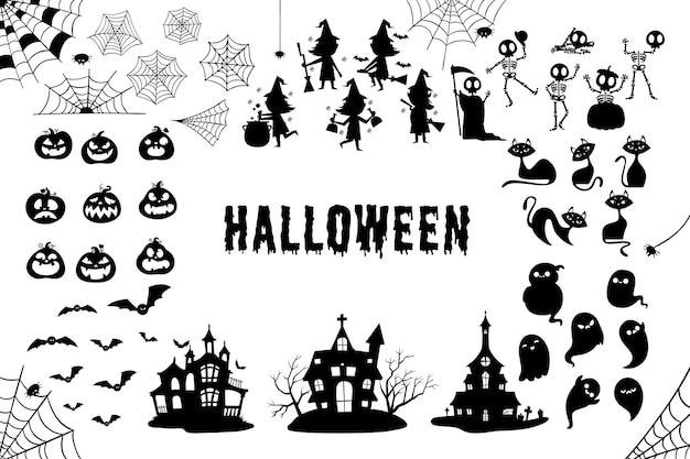 Коллекция хэллоуин силуэт Premium векторы