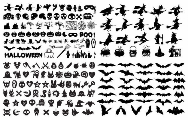 halloween silhouette elements vector collection Free Vector
