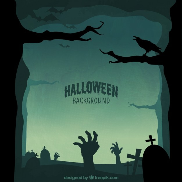 Halloween silhouettes background Free Vector