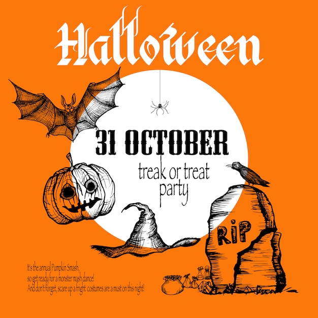 Halloween sketch background Free Vector