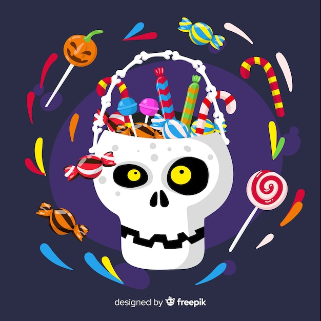 Halloween skull basket full of candies and sweets Free Vector