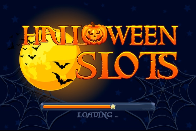 Слоты хэллоуина, фон экрана для игры в слоты. иллюстрация Premium векторы