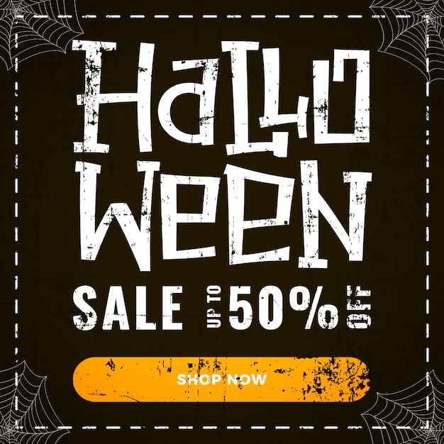 Halloween special discount offer banner on dark old scratched Premium Vector