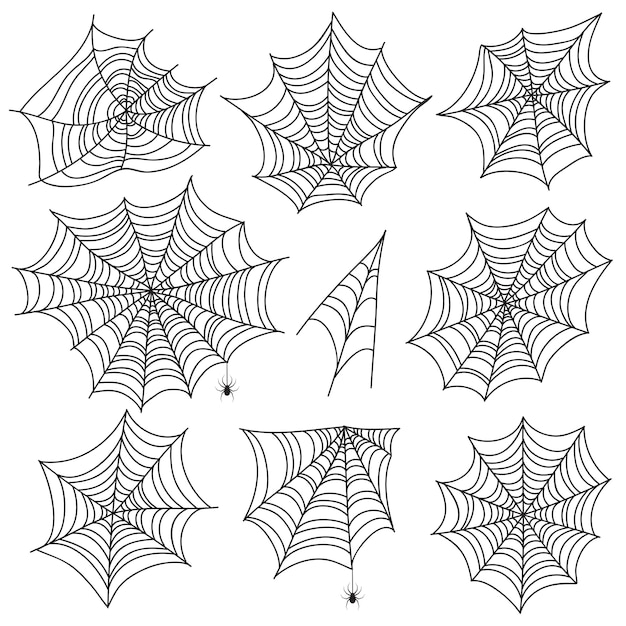 Halloween spiderweb. black cobweb and spider silhouettes. scary web vector graphics isolated on white background Premium Vector