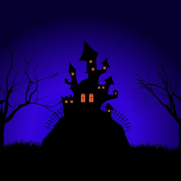 Halloween spooky castle background