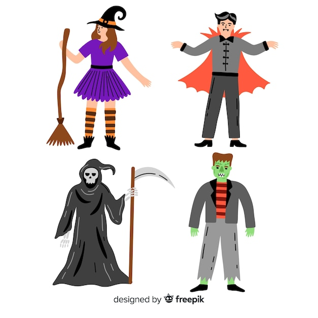 Halloween spooky character collection Free Vector