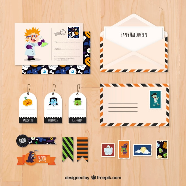 Halloween Stationery Pack Free Vector
