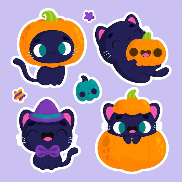 Adesivi di halloween simpatico gatto e zucca Vettore gratuito
