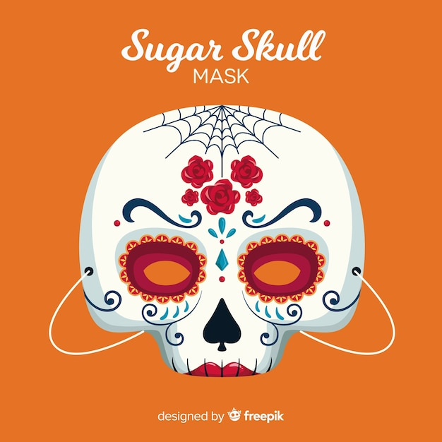 Halloween sugar skull mask in flat design Free Vector