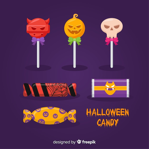 Halloween sweets collection Free Vector