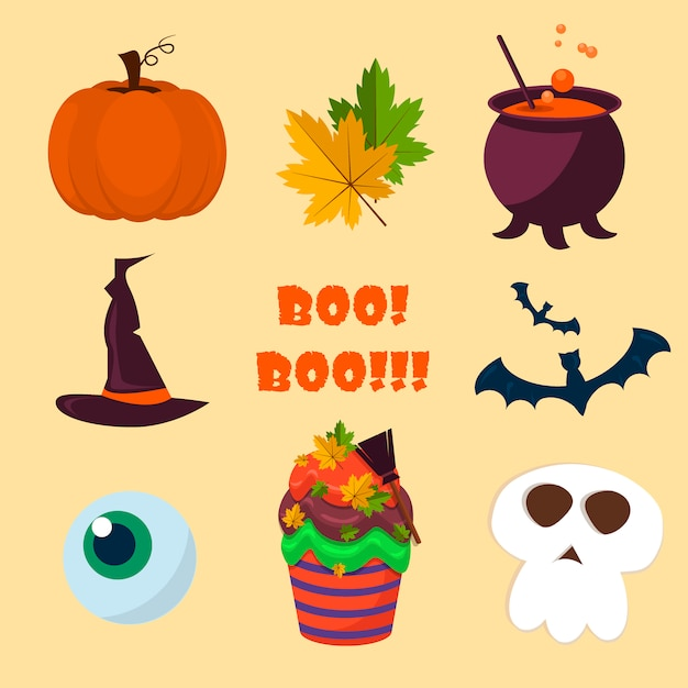 Halloween symbols collection. Premium Vector