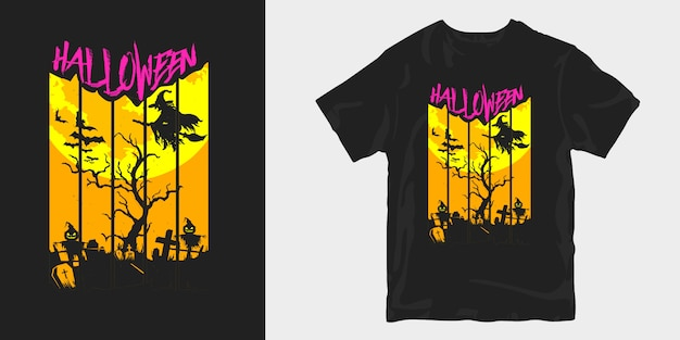 Halloween t shirt design creepy illustration silhouettes Premium Vector