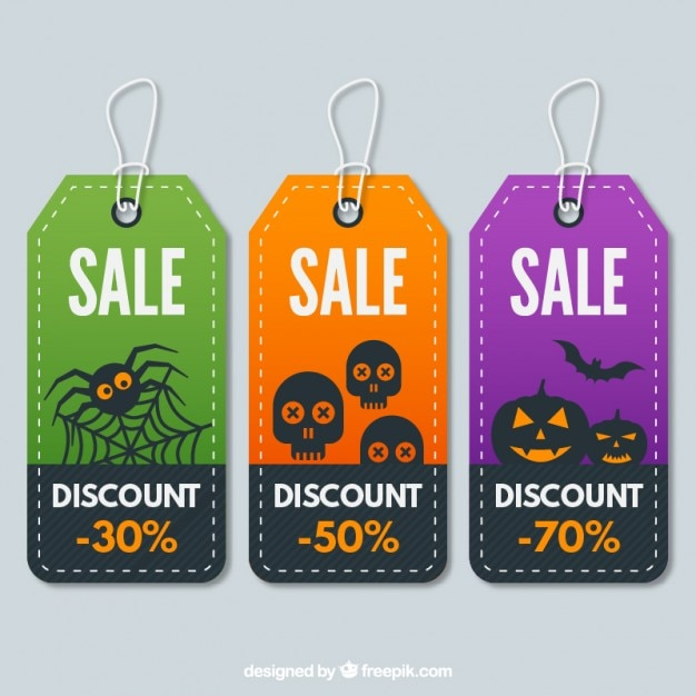 Halloween tags collection Premium Vector