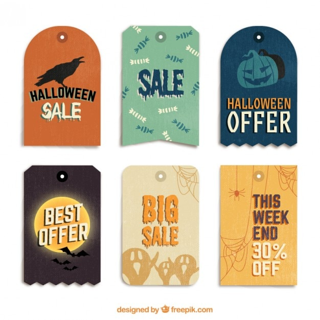 Halloween tags for sale Premium Vector