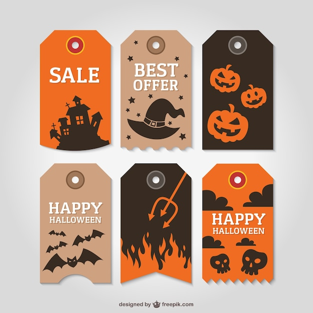 Halloween tags Free Vector