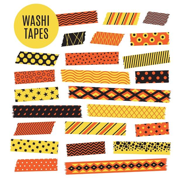 Halloween tape strips. orange and black halloween patterns. scrapbook elements Premium Vector