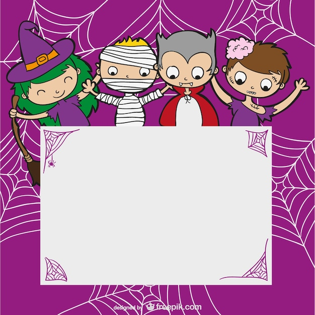 Halloween Template With Kids Vector  Free Download