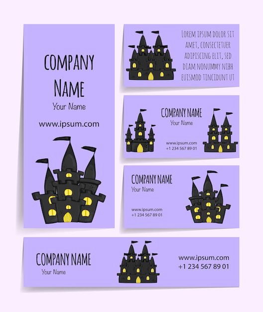 Halloween template for your business card. cartoon style. Premium Vector