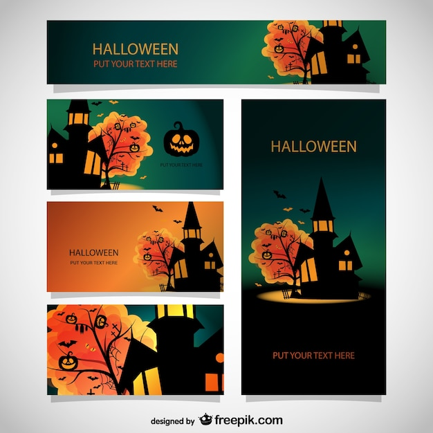 Halloween templates set Free Vector