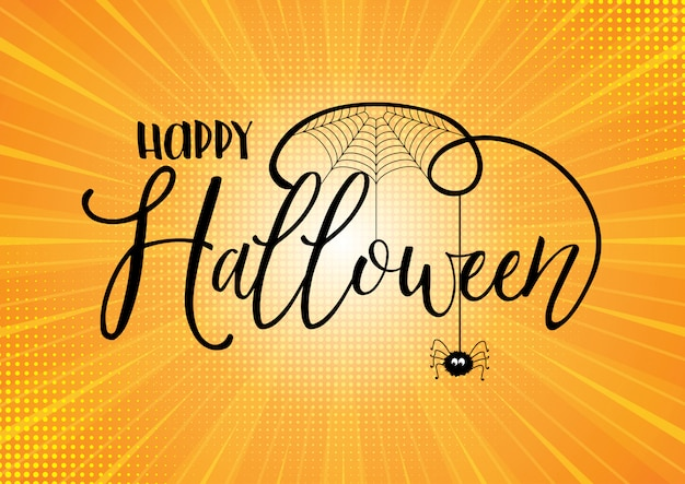 Halloween text on starburst background Free Vector