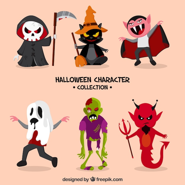 Halloween thematic collection of six characters Premium Vector