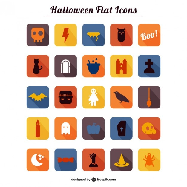 Halloween theme flat icons