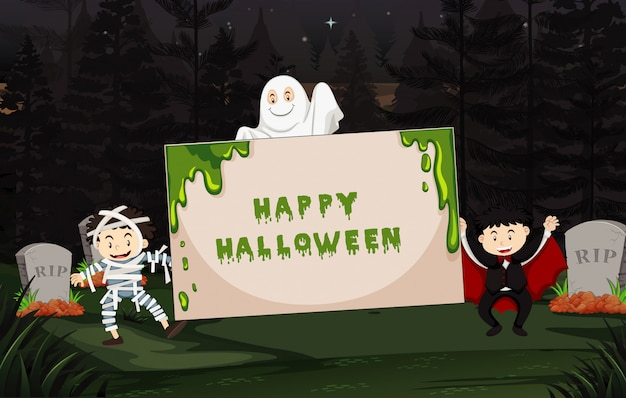 Halloween theme with kids in costume Free Vector