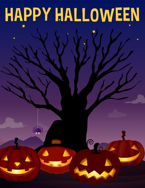 Halloween theme with tree and pumpkins Free Vector