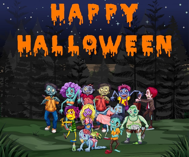 Halloween theme with zombies in the park Free Vector