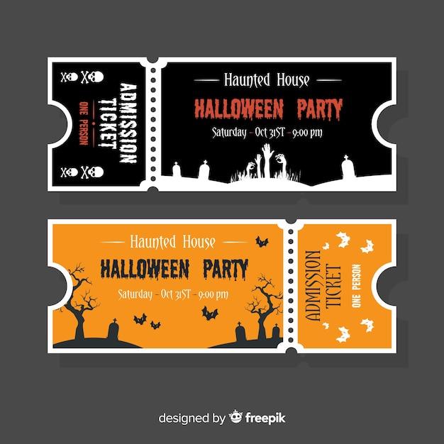 Halloween Ticket Template Concept Vector