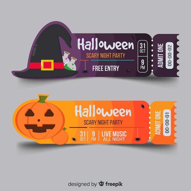Halloween Ticket Template Vector