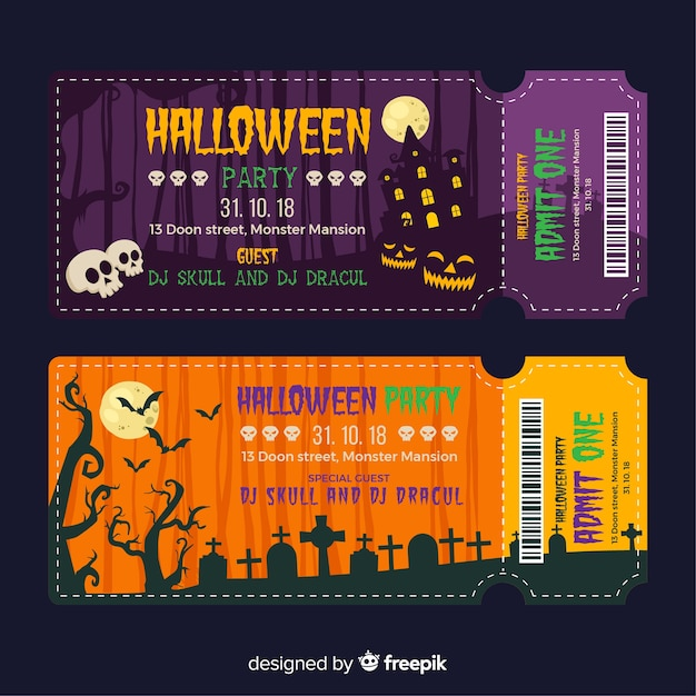 Halloween ticket template Free Vector