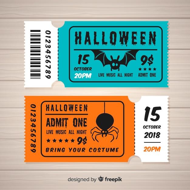 Concetto di biglietti di halloween Vettore gratuito