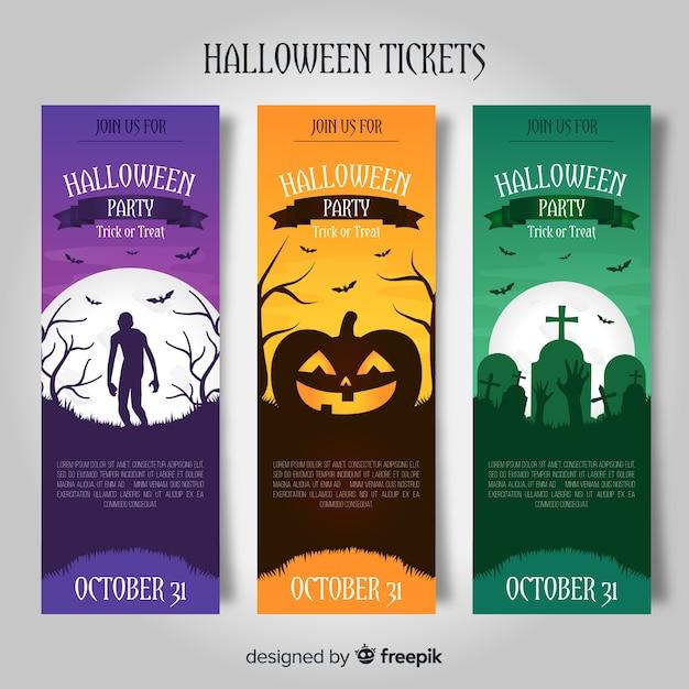 Progettazione di biglietti per halloween Vettore gratuito