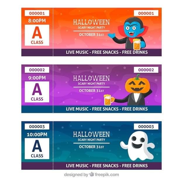 Halloween tickets with funny characters