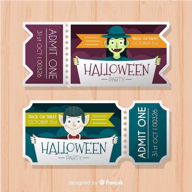 Biglietti di halloween Vettore gratuito