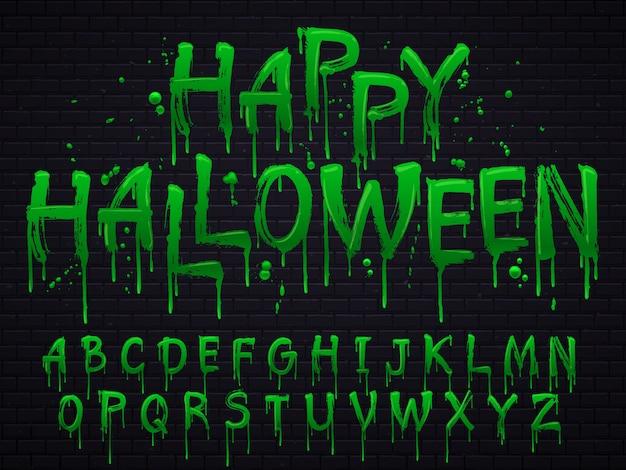Halloween toxic waste letters Premium Vector