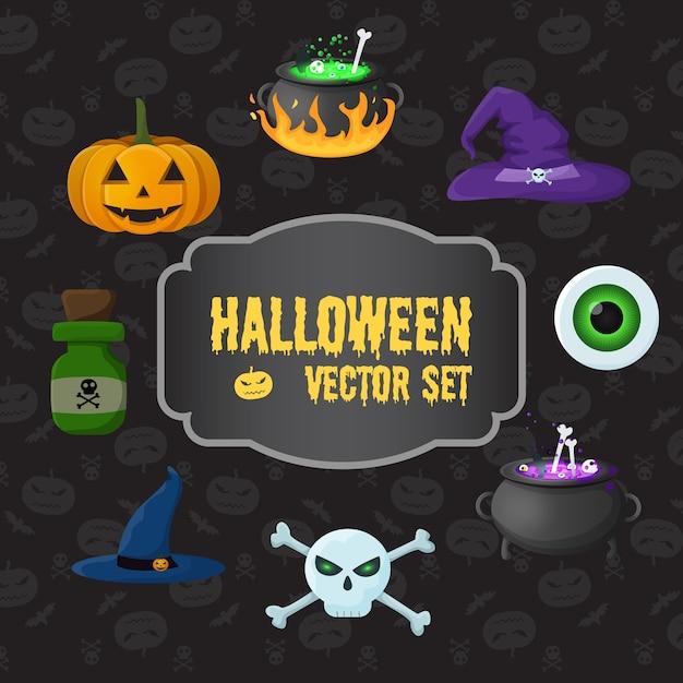 Insieme di elementi tradizionali di halloween con calderoni per gli occhi dei cappelli della strega della bottiglia del veleno delle ossa incrociate del cranio della zucca con la pozione Vettore gratuito