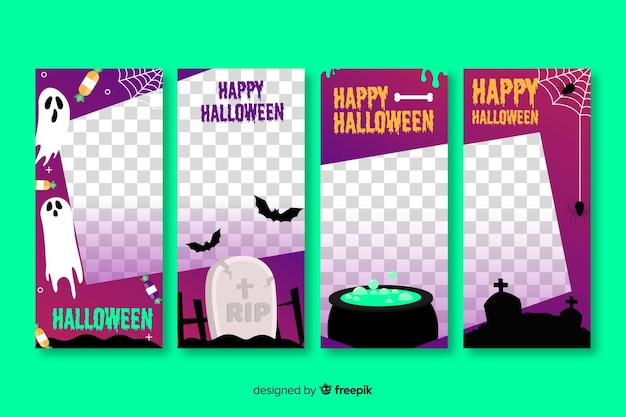 Halloween transparent social media stories collection Free Vector