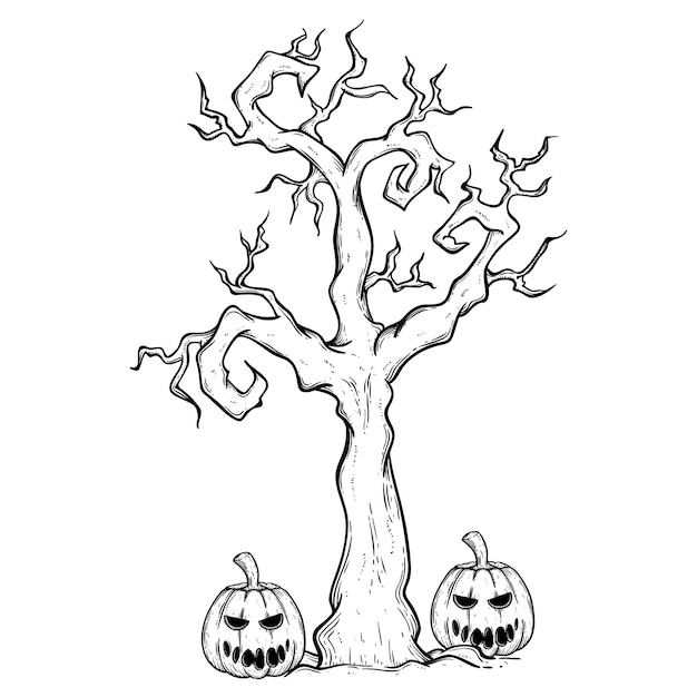Halloween Spooky Tree Face.Halloween Tree And Pumpkin With Spooky Face Using Hand