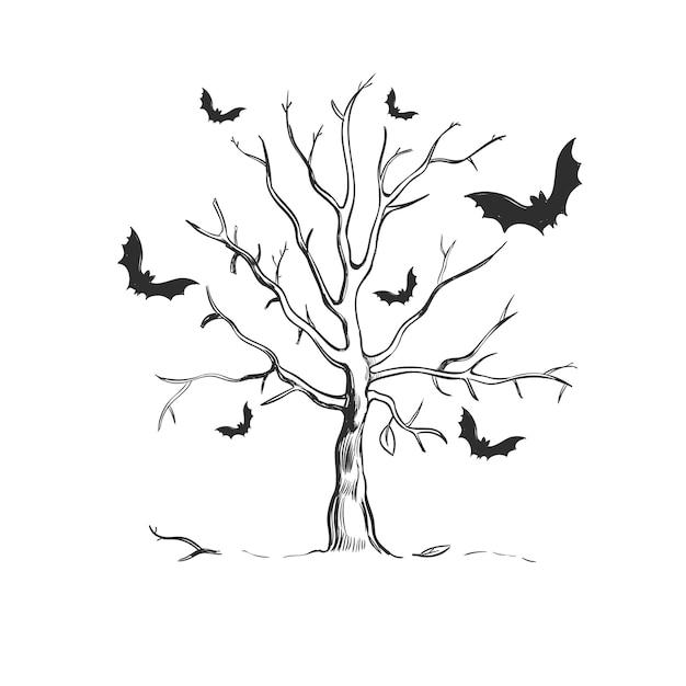Halloween tree sketch Free Vector
