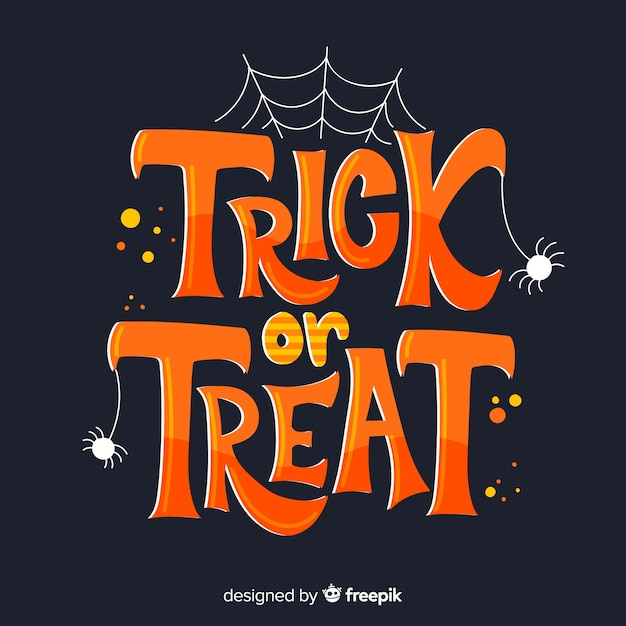 Halloween trick or treat with spider web Free Vector