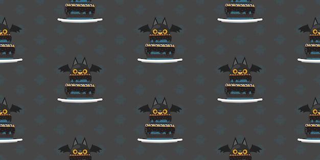 Halloween vampire bat cake seamless pattern  Vector