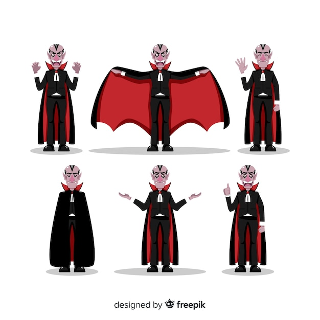 Halloween vampire character collection with flat design Free Vector