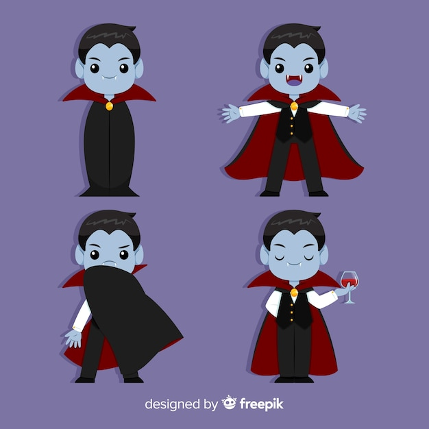 Halloween vampire collection with flat design Free Vector